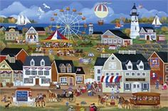 "Carol Dyer Hand Signed and Numbered Limited Edition Giclee on Canvas""Red, White And Blueberry Festival"""