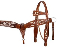 Showman wide browband filigree headstall and breastcollar set with hair on cowhide inlay and cutout crosses