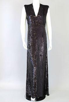 MONIQUE LHUILLIER Purple Sequin V Neck Evening Gown Dress Women Size 10 76-462 #MoniqueLhuillier #BallGown #Formal