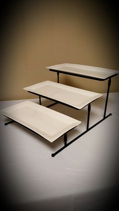 3 tiered movable stand (you can have the trays in a straight line, or have them diagonal) Trays, Table, Furniture, Home Decor, Interior Design, Home Interior Design, Desk, Tabletop, Arredamento