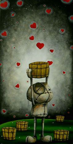 DeviantArt: What the Heart wants and the Heart needs can be found in a Fabio Napoleoni painting. Nostalgia, sorrow and moments that lift the soul are all there for the world to see and experience a… Arte Robot, Robot Art, Quirky Art, Whimsical Art, Art And Illustration, Fantasy Kunst, Fantasy Art, Art Watercolor, Creepy Art