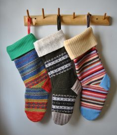 accidentally felted a sweater? up cycle!! into gorgeous Christmas stockings.