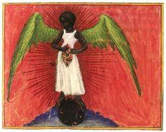 "Aurora Consurgens (att: St. Thomas Aquinas or ""Pseudo-Aquinas"") f. 34v: Black Female Angel Germany (c. 1420s) Parchment Codex with Watercolor Miniatures, 20.4 x 13.9 cm. Zürich, Zentralbibliothek."