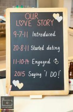 Simple details such as blackboards with a timeline of your love story add a great detail to your wedding or engagement function - modern Indian wedding - DIY engagement party decor - fun engagement party ideas / Bridal Shower decor idea Perfect Wedding, Dream Wedding, Wedding Day, Trendy Wedding, Wedding Simple, Garden Wedding, Wedding Backyard, Wedding Ceremony, Modern Wedding Ideas