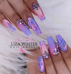 using Glitterbels core powder in:- Sugared Almond Snowdrops White and Glass Slippers. Colour Powders in :- petal candy violet… Purple Acrylic Nails, Summer Acrylic Nails, Purple Nails, Bling Nails, Bling Wedding Nails, Bling Nail Art, Violet Nails, Fabulous Nails, Gorgeous Nails