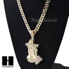"HIP HOP ICED OUT PRAYING HANDS PENDANT 20"" 24"" 30"" CUBAN LINK CHAIN NECKLACE N37"