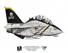 USS John F Kennedy Arabian Gulf / Mediterranean Sea, 2004 F14 Tomcat, Aviation Humor, Aviation Art, Airplane Art, Airplane Humor, Fighter Aircraft, Fighter Jets, Cartoon Plane, Jolly Roger
