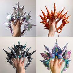Mermaid Crown, Mermaid Bra, Hanging Centerpiece, Shell Crowns, Crystal Crown, Amethyst Quartz, Tiaras And Crowns, Pastel Pink, Pink Blue