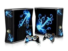 Blue Flower Xbox 360 Skin for Xbox 360 slim Console and Controllers Camouflage, Microsoft, Xbox One Skin, Xbox 360 Console, Console Styling, Ps4 Skins, Color Tag, Xbox 360 Games, Pokemon Fusion