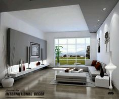 modern living room decor and design. Paint part of ceiling to match silver travertine wall?