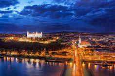 City lights The best view from Bratislava. Paris Skyline, New York Skyline, European River Cruises, Bratislava Slovakia, Danube River, Hotel Reservations, Cheap Hotels, City Lights, Nice View