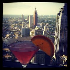 Atlanta and cocktail, as seen from the Sundial at the downtown Westin Hotel, from Instagram user johntylerlynch.    In case you don't want to eat or drink at the Sundial but you want to take in the view, you can pay $ 6 per person to ride up the elevator and go to the observation area. Worth it.