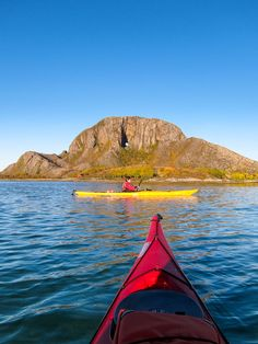 Kayaking near Torghatten in Helgeland, Northern Norway.