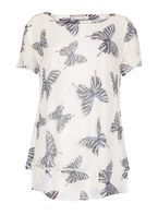 Womens *Voulez Vous White Butterfly Print Blouse- White