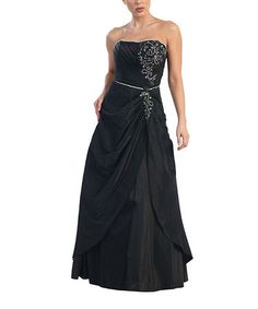 This Black Gathered Tulip-Hem Strapless Gown is perfect! #zulilyfinds JUST 34.99! THINK NEW YEAR'S EVE!