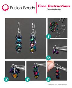 This Cascading Earring design is a quick and easy DIY project you can make in minutes using only 3 products including fun lentil Czech glass beads!                                                                                                                                                                                 More