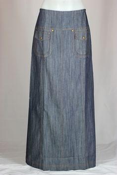 Double Pocket Long Denim Skirt