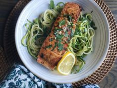 Seared Salmon with Garlicky Zucchini Noodles