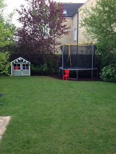 New mini wood chip base for under trampoline... Made such a difference!