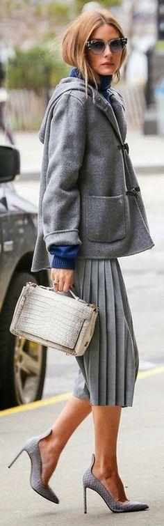 Who made Olivia Palermo's sunglasses, gray pleat pants, handbag, and purse?