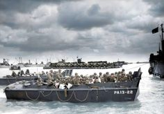WW2 Colourised Photos U.S. troops disembarking on Utah Beach, 6 June 1944. The LCVP in the foreground was assigned to the U.S. Navy attack transport USS Joseph T. Dickman (APA-13), which had sailed from England on 5 June and arrived off Utah Beach early the next day. Joseph T. Dickman landed her troops without a mishap, and steamed to Portland with casualties in the afternoon of 6 June 1944.    (Colourised by Royston Leonard from the UK)
