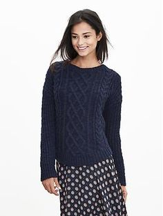 Petite Chunky Cable-Knit Sweater Pullover | Banana Republic