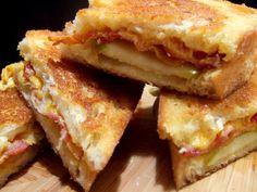 Provolone, bacon, Granny Smith Apple on Sourdough Bread ~ yummy for the rainy nights!