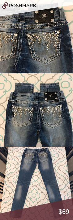 "Gorgeous Miss Me Jeans26 1/2 29.5"" So Cute Gorgeous Miss Me Jeans Size 26 (1/2). 29.5"" Inseam. 7.25"" Rise. 13"" Across Back. Amazing Stretch. Pretty Medium Blue Wash. Heavy Fading. Skinny Jeans. White Thick Stitching. Bling! Beautiful Button & Rivets!!! Sequin Stud & Bling. A waterfall of pretty Details on these Pockets. So Beautiful! LOVE! Very Good Used Condition. Only One missing sequin. Miss Me! The Buckle! Skinny! Ask me any questions! : ) Miss Me Jeans Skinny"
