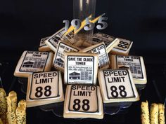 Awesome cookies at a Back to the Future birthday party! See more party planning ideas at CatchMyParty.com!