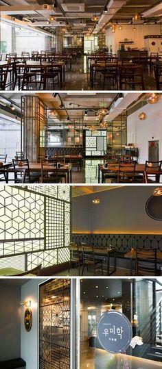 [No.66 우미학] 모던 고기집 인테리어 90평, 숙성 한우 전문점 Studio Interior, Restaurant Interior Design, Cafe Interior, Public Restaurant, Korean Bbq Restaurant, Industrial Cafe, Industrial Interior Design, Coffee Shop Design, Cafe Design