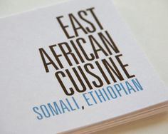 East African Cuisine is a branding project for a one-woman Somalian catering company.