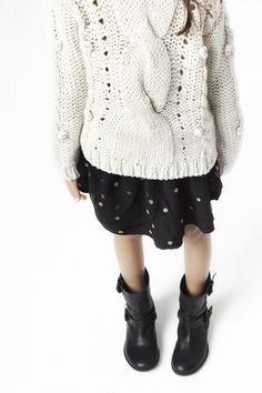 CABLE KNIT SWEATER 39.9 USD  TULLE SKIRT 19.9 USD  LEATHER BIKER ANKLE BOOT 55.9 USD