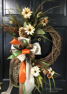 This Beige Daisy and Pinecone Fall Wreath has a glittered pinecone, beige daises, small acorns, grass and floral picks that would be beautiful on any home or setting! This wreath is built on a 18 round grapevine. Thanksgiving Wreaths, Holiday Wreaths, Holiday Decor, Spring Wreaths, Autumn Wreaths, Summer Wreath, Fall Door Decorations, Harvest Decorations, Outdoor Wreaths
