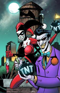 Joker and Harley Quinn by celaoxxx on DeviantArt Harley Quinn Drawing, Joker And Harley Quinn, Love Is Comic, Gotham Girls, Joker Art, Dc Comics Art, Comic Book Characters, The Villain, Gotham City