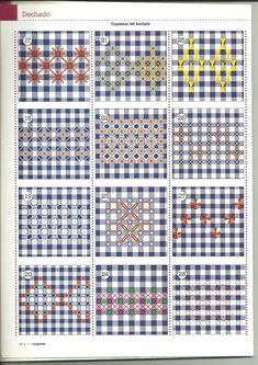 Bordado em tecido xadrez - vários motivos