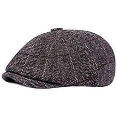 513741dc5df8a0 HowYouth Mens Classic Vintage Newsboy 8 Panel Herringbone Tweed Flat Cap  Gatsby Baker Boy Hat Unisex 55-58CM (Light Grey Style3)