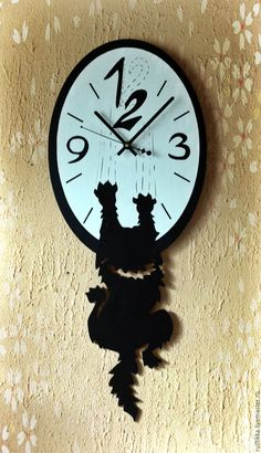 """Купить Часы настенные """"Наглый кот"""" - черный, часы настенные, часы с котом, часы с кошкой"""