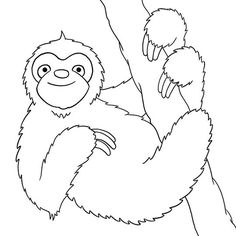 Cartoon Sloth Coloring Pages Sketch Coloring Page Animal Coloring Pages, Colouring Pages, Adult Coloring Pages, Coloring Sheets, Coloring Books, Coloring For Kids, Free Coloring, Sloth Drawing, Rainforest Animals
