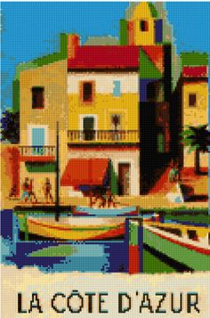 Cross stitch pattern Vintage Cote d'Azur travel poster PDF - New EASY chart with one color per sheet AND regular chart! Two charts in one! by HeritageCharts on Etsy