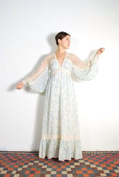1970s Gunne Sax Lace & Blue Floral Maxi Dress // sz by UXCVintage