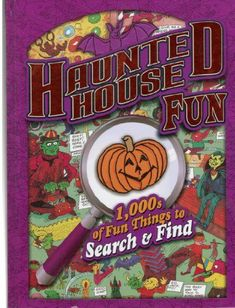 """Locate a variety of hidden items within many busy pictures that depict Halloween festivities happening within """"haunted"""" sites."""