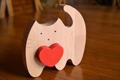 Wooden love cat puzzle  Puzzle toy  Wooden by WoodenWorkshopUA