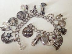 Vintage Charm Bracelet, Silver Charm Bracelet, Silver Charms, 925 Silver, Vintage Jewelry, Silver Bracelets, Silver Earrings, Charm Bracelets, Jewelry Box