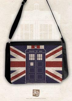 TARDIS big messenger bag / Union Jack by FeerieDoll on Etsy