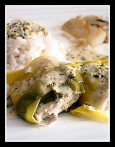 Blancs de poulet aux poireaux et basilic #poulet #basilic #poireaux