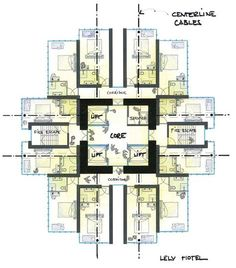 hotel planos hotel floor plan design with a core- concept of immersion The Plan, How To Plan, Hotel Floor Plan, House Floor Plans, Plano Hotel, Habitat Collectif, Architectural Floor Plans, Hotel Room Design, Apartment Floor Plans