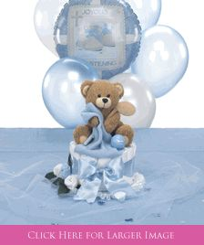 Christening Table Decorations with a Golf Theme.  Comes with balloon bouquet that attaches to centerpiece and Teddy Bear & Cross Table Sprinkles. Also Available in Pink!