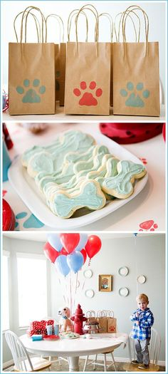 Puppy Dog Gift Bags and Cookie Party ideas in Red & Blue #DogParty