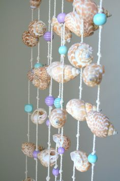 Sea shells windchime beach decor driftwood mobile.