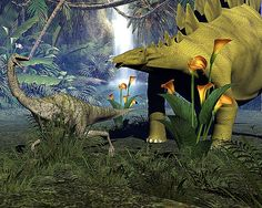 Stegosaurus and Gallimimus by a water falls.